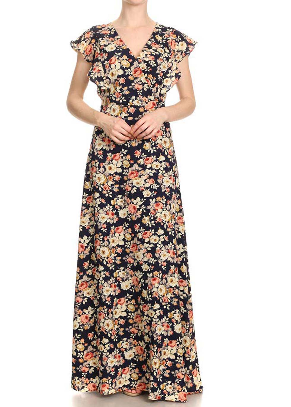 Navy Rose V-Neck Maxi Dress