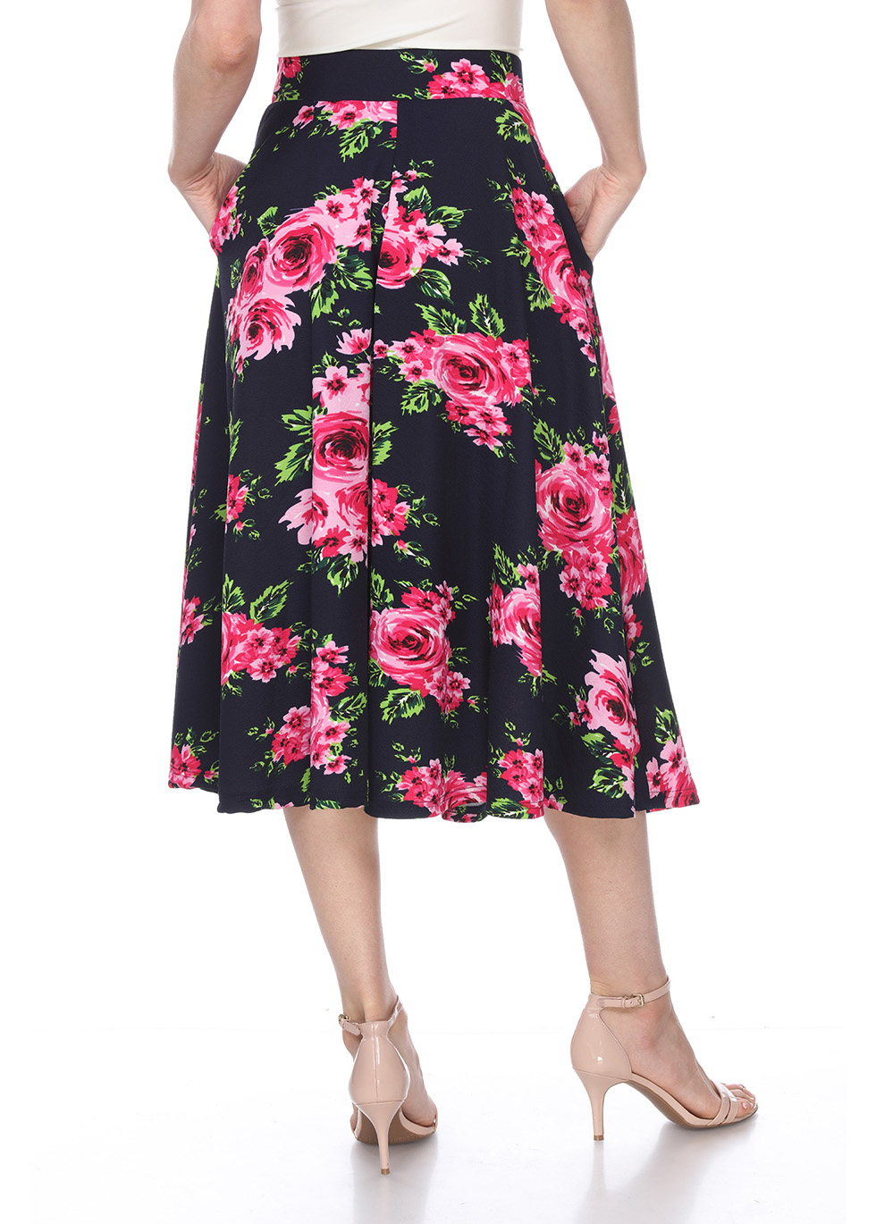 Flared Floral Midi Skirt with Pockets - Navy Flower