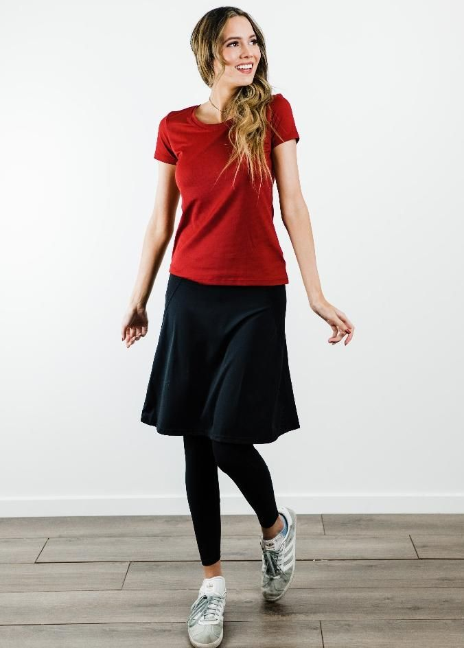 "Performance Tee With Knee Length Sport Skirt with Attached 27"" Leggings - Sport Set"