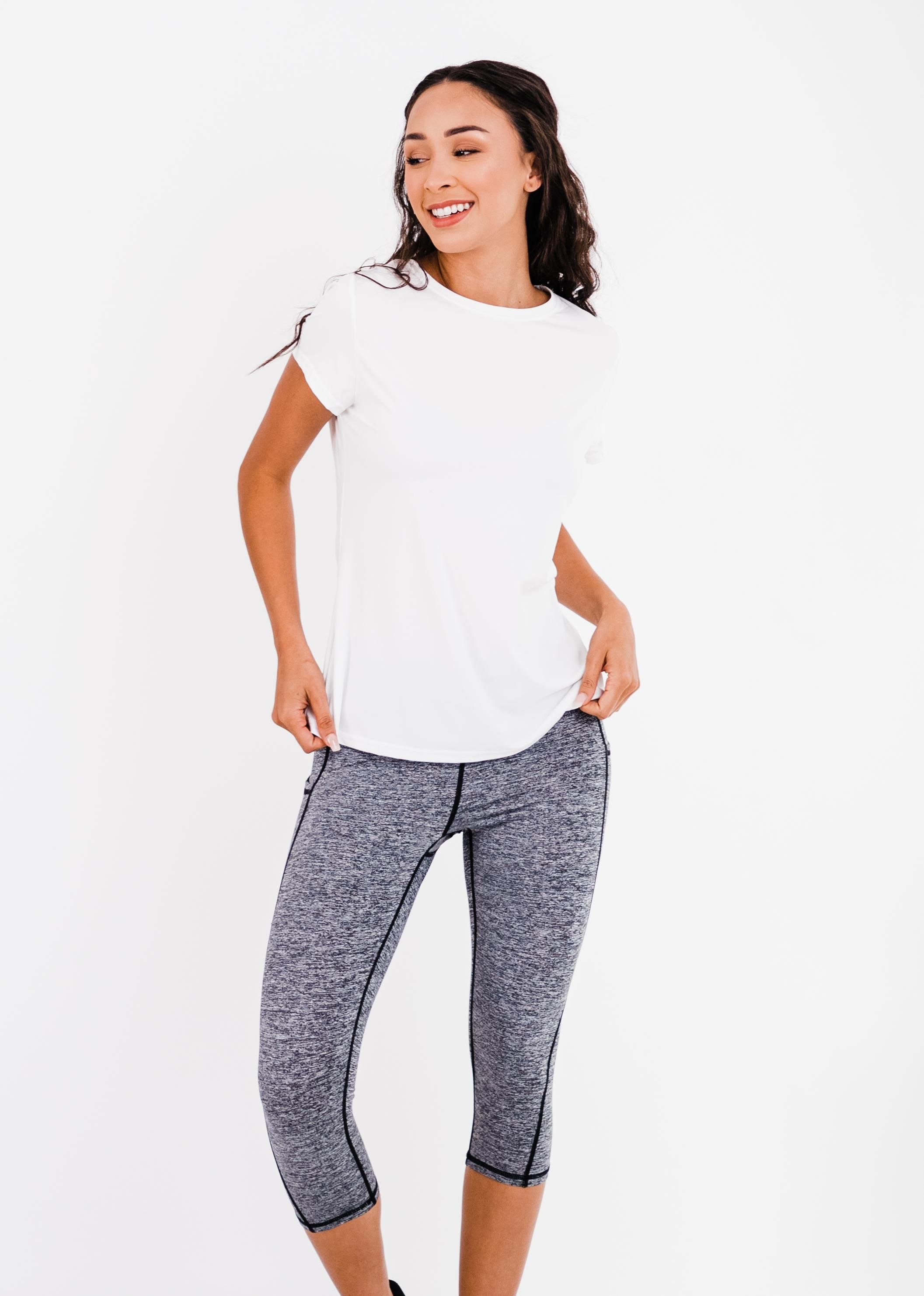 """Pro Pleated Back Performance Top With 17"""" Lycra® Capri Leggings"""