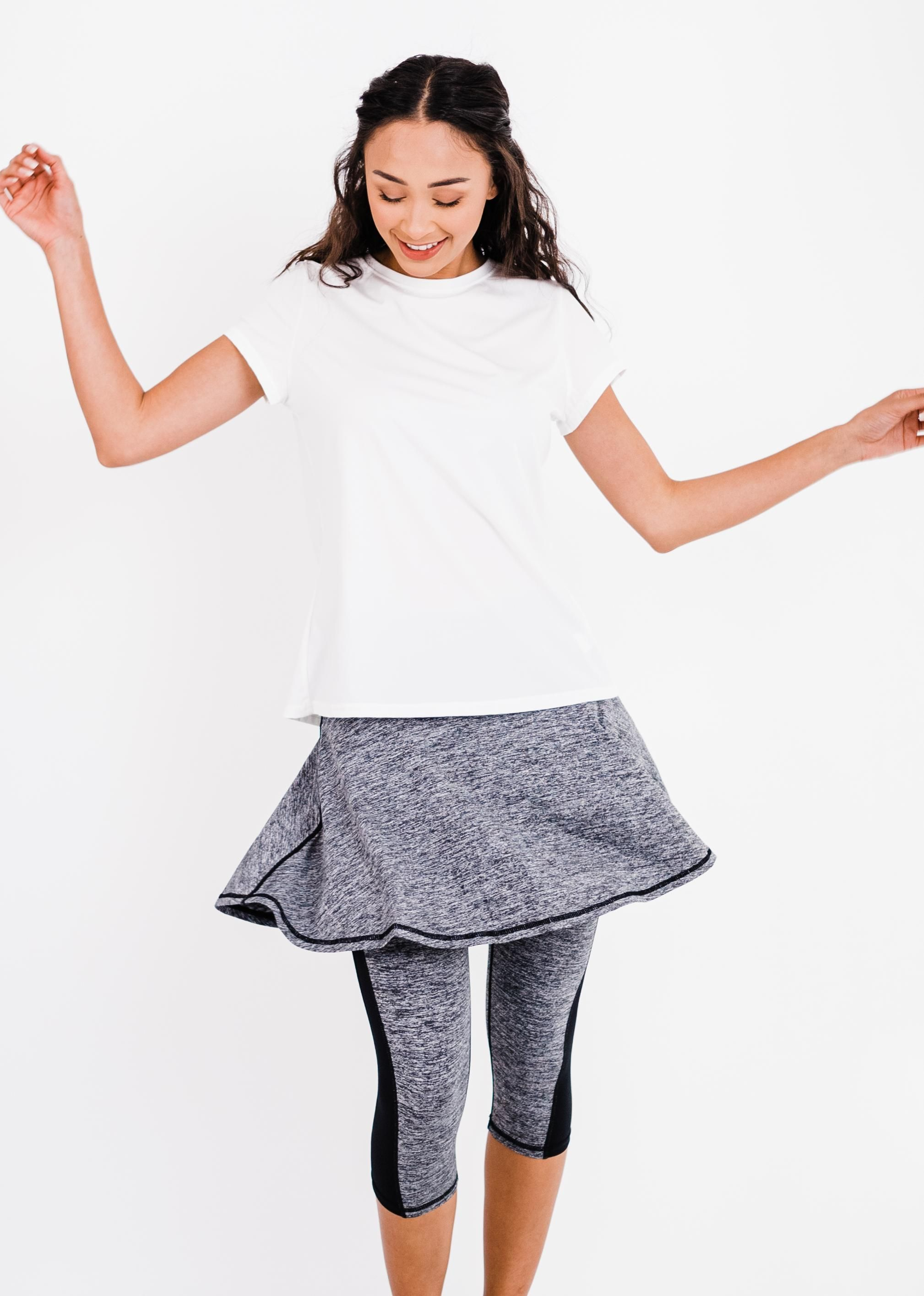 """Pro Pleated Back Performance Top With Flowy Lycra® Sport Skirt With Attached 17"""" Leggings"""