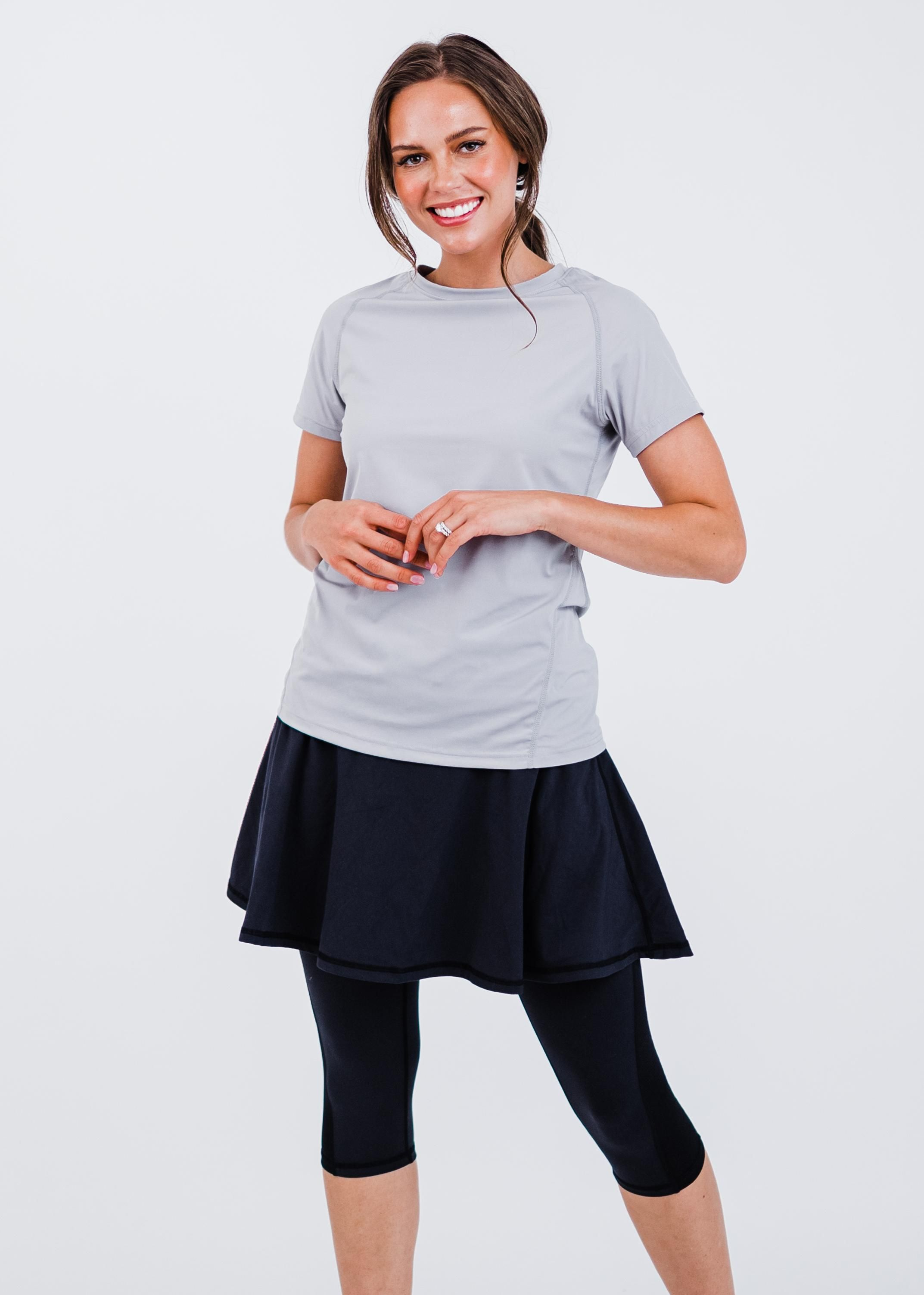 """Pro Performance Top With Flowy Lycra® Sport Skirt With Attached 17"""" Leggings"""