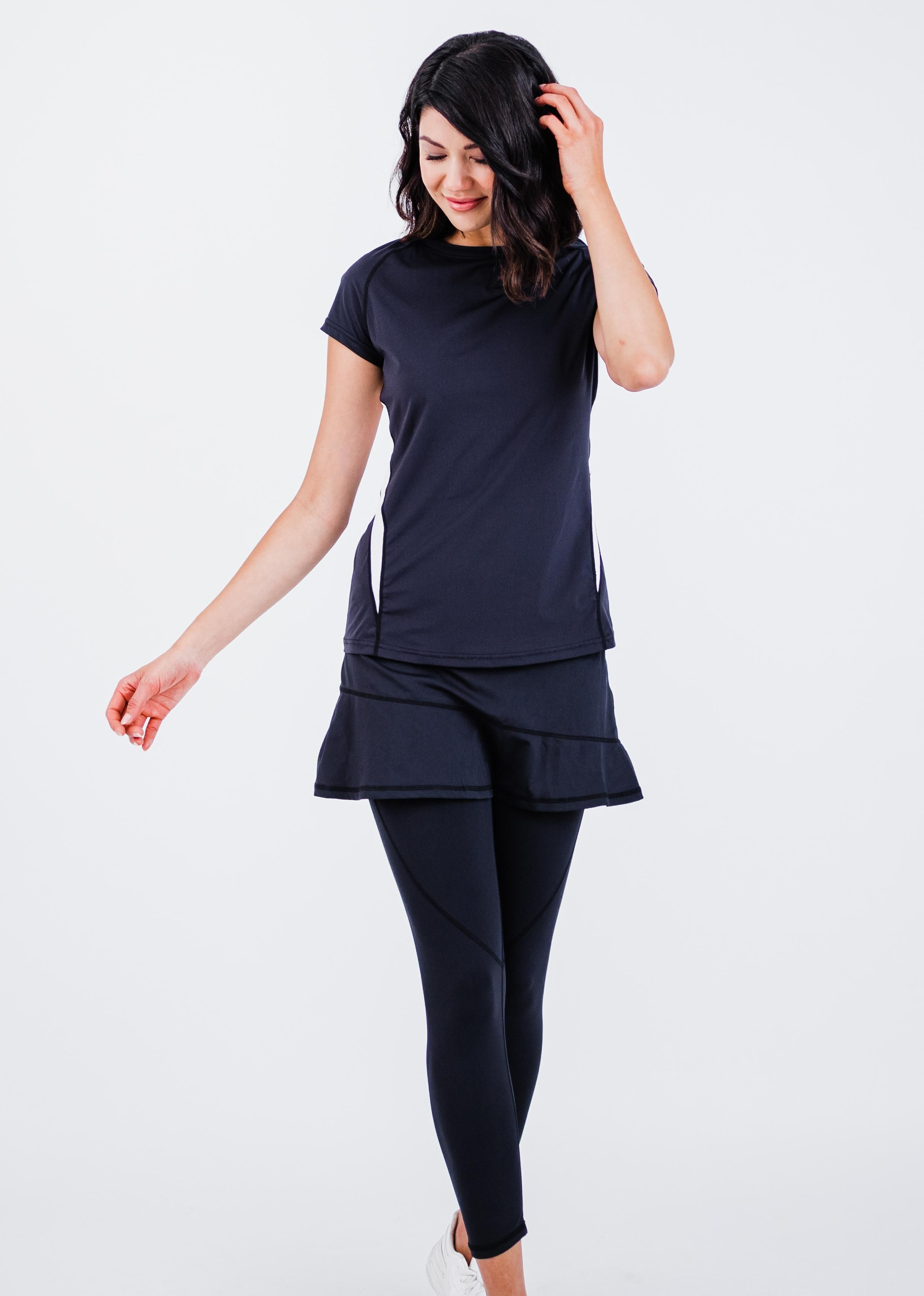 """Pro Cap Sleeve Performance Top With Mesh Panels With A-line Lycra® Short Sport Skirt With Attached 27"""" Leggings"""