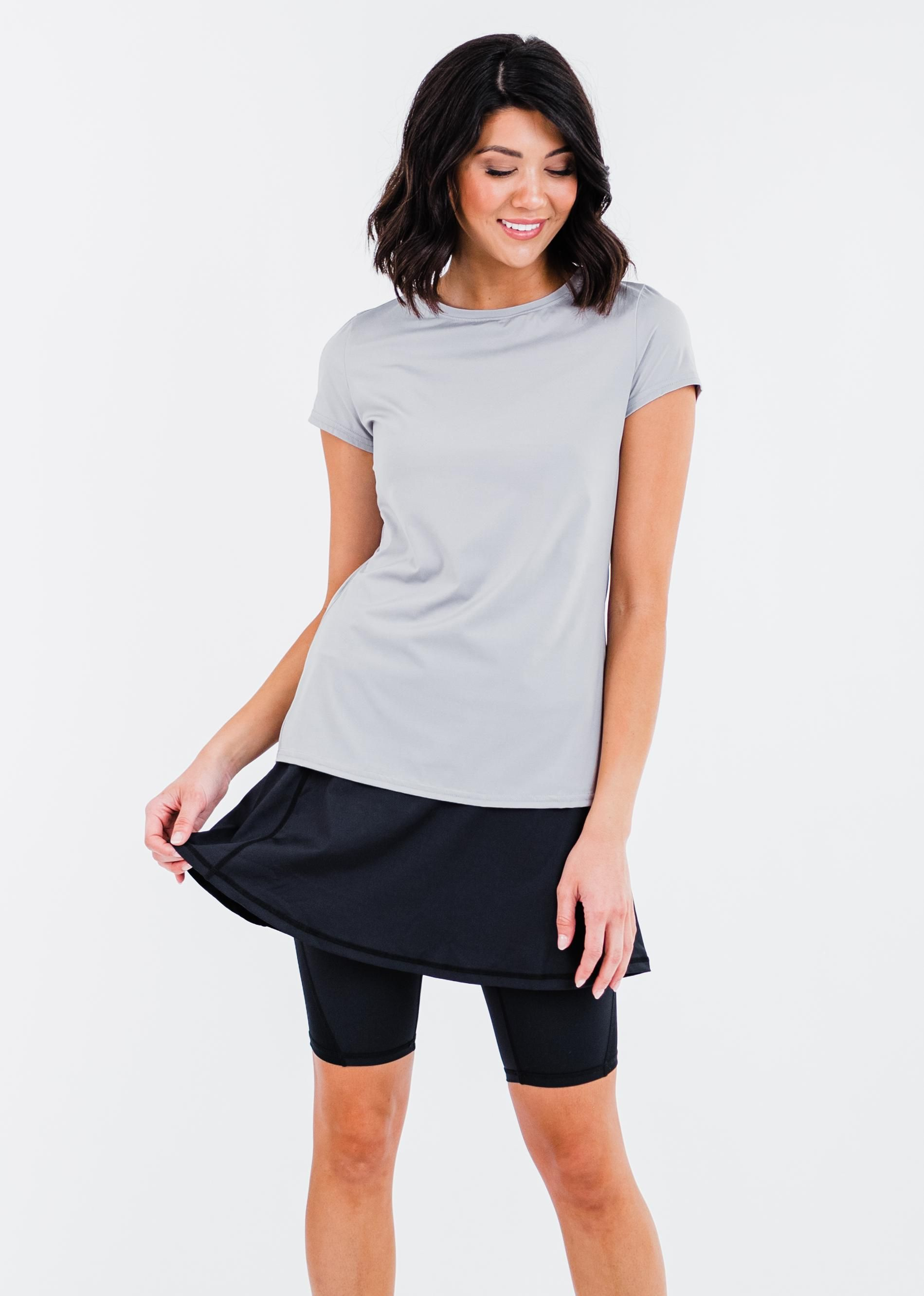 """Pro Pleated Back Performance Top With Midi Lycra® Sport Skirt With Attached 10"""" Leggings"""