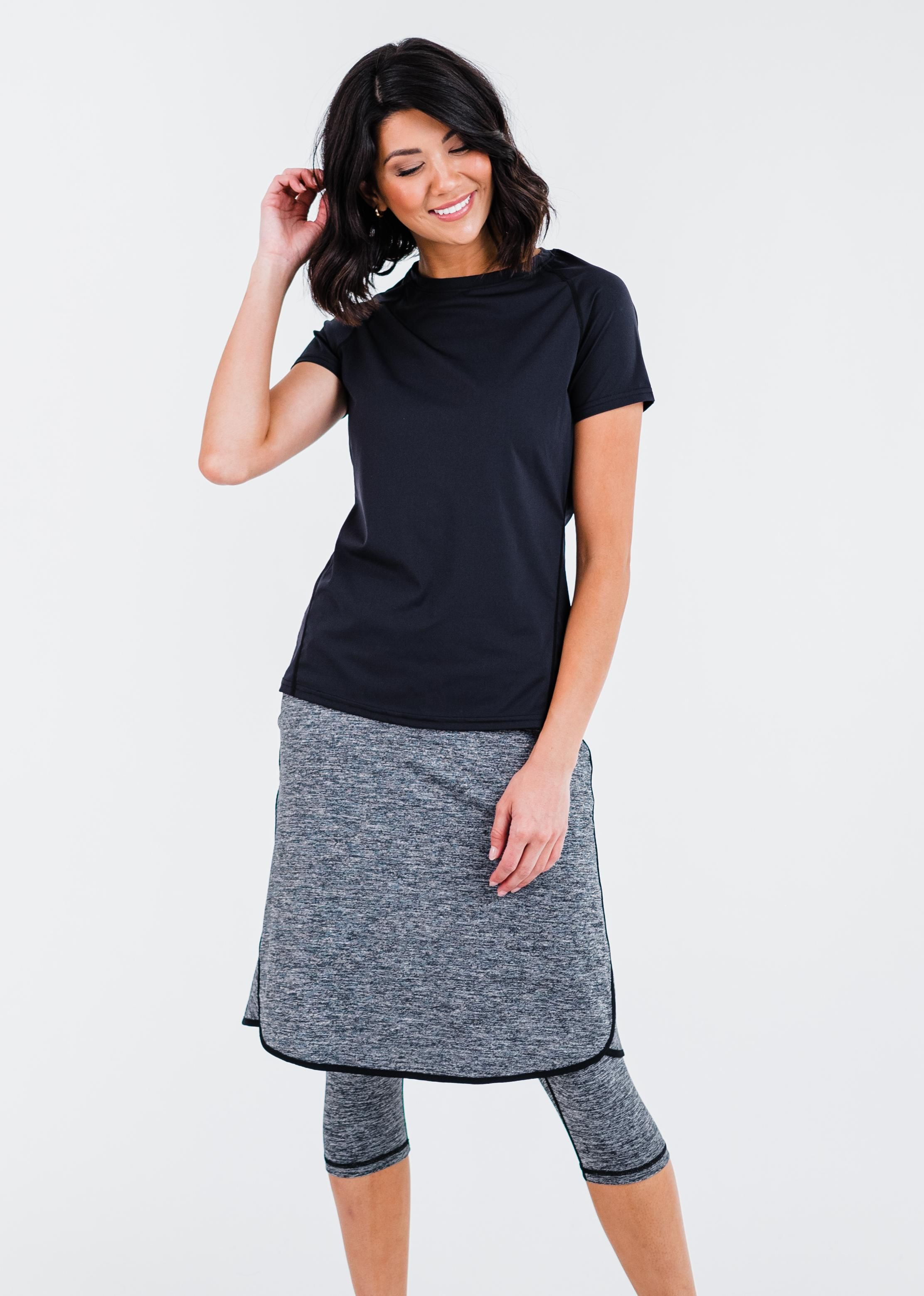 """Pro Performance Top With Knee Length Lycra® Sport Skirt With Attached 17"""" Leggings"""