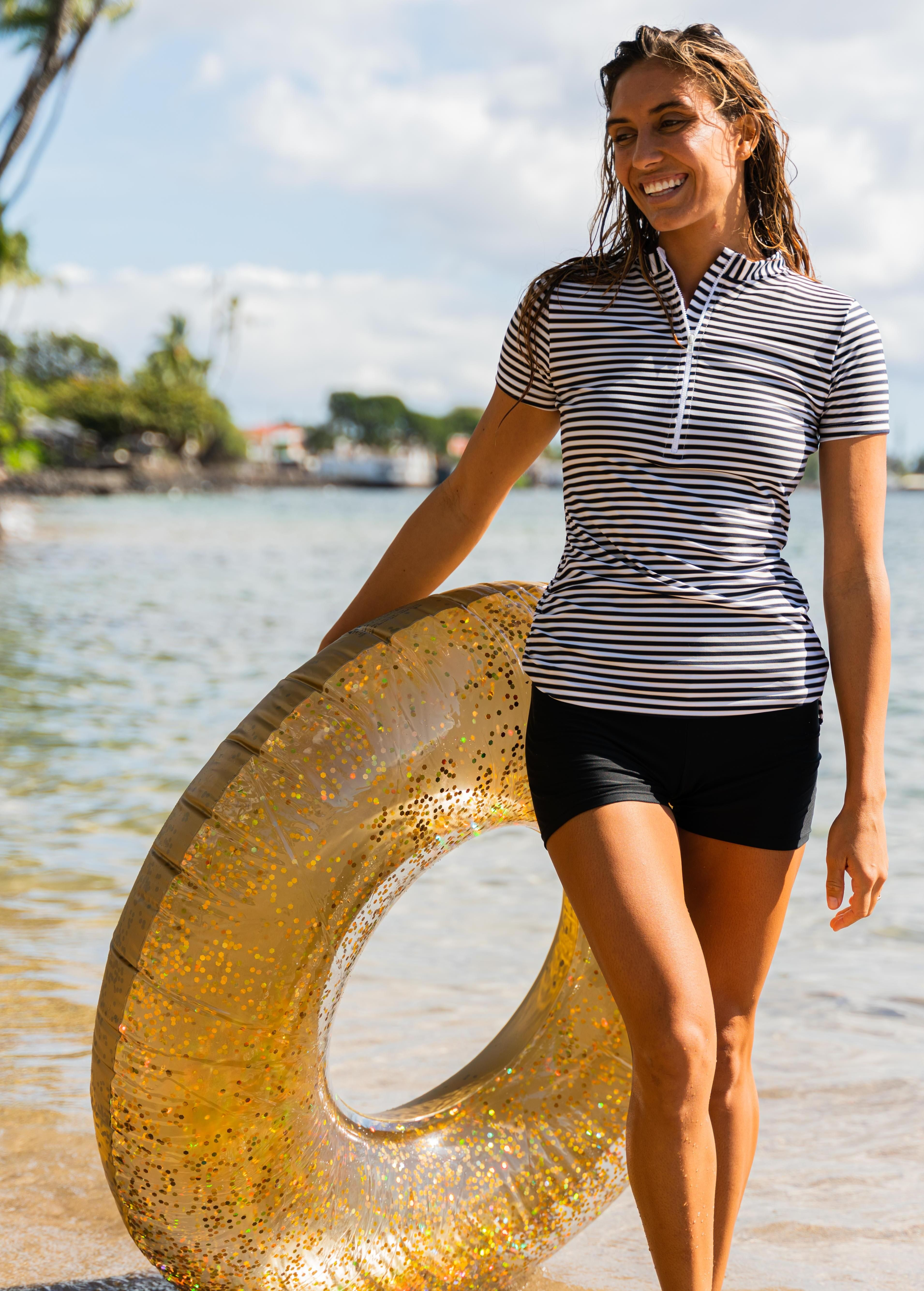 Half-Zip Adele Swim Top With Swim Shorts