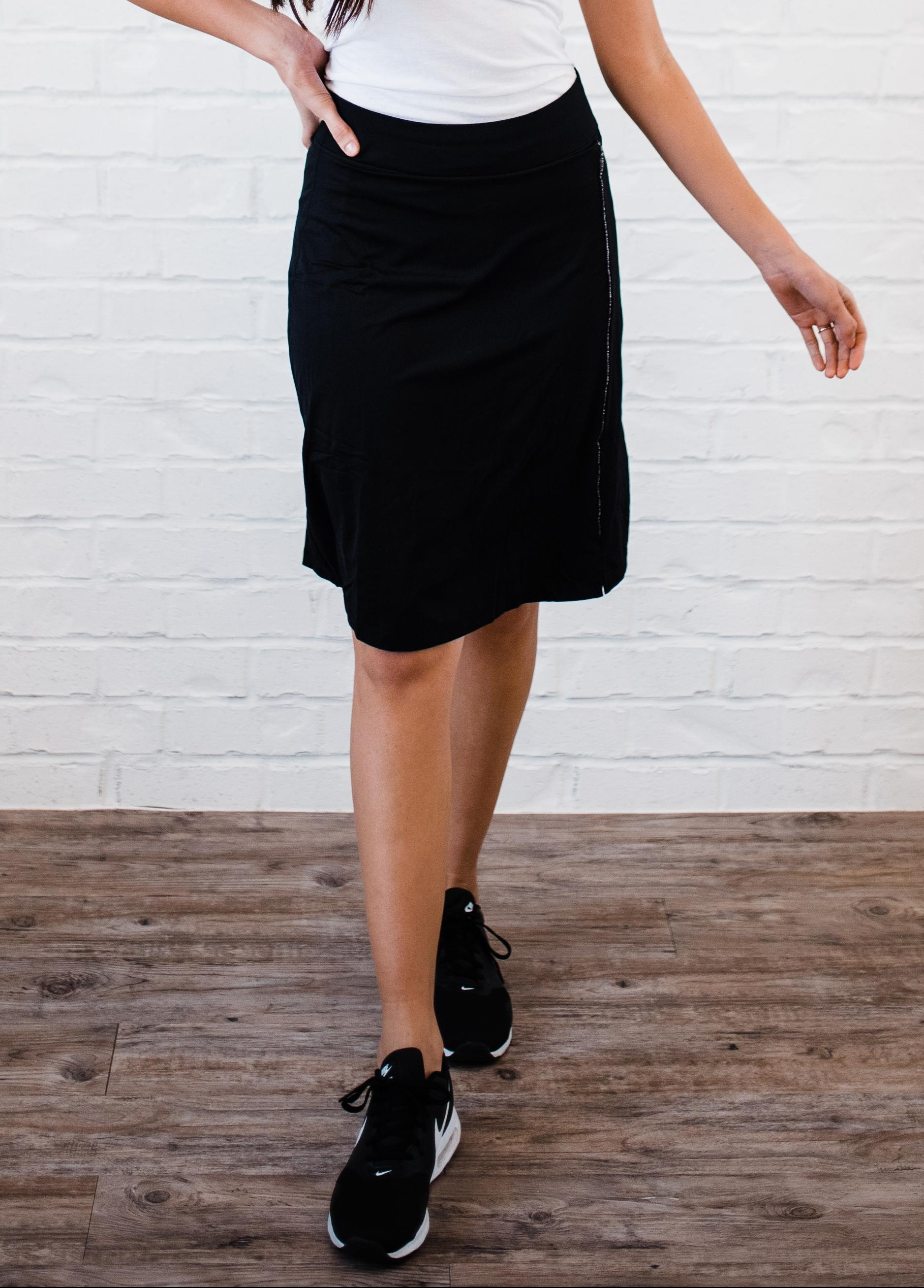 "Knee Length Sport Skirt With Attached 10"" Leggings"
