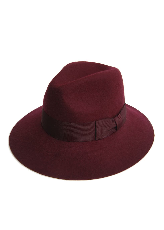 Maroon wide brim felt hat  22f2dbcee74